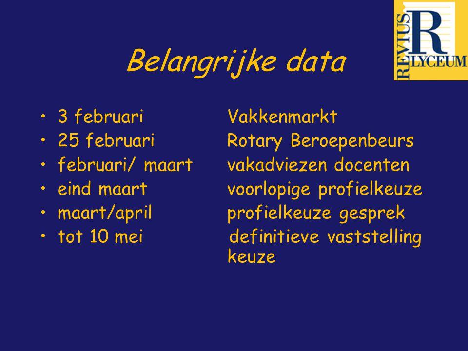 Belangrijke data 3 februari Vakkenmarkt 25 februariRotary Beroepenbeurs februari/ maartvakadviezen docenten eind maartvoorlopige profielkeuze maart/ap