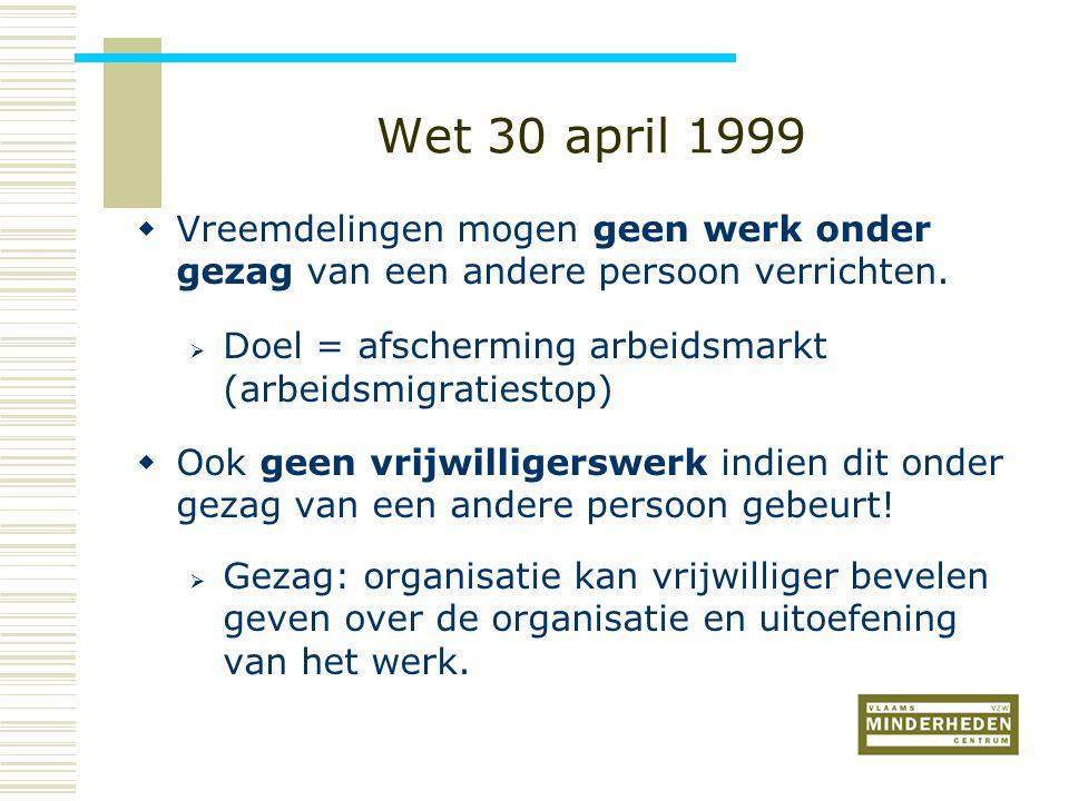 Wet 30 april 1999  Vreemdelingen mogen geen werk onder gezag van een andere persoon verrichten.