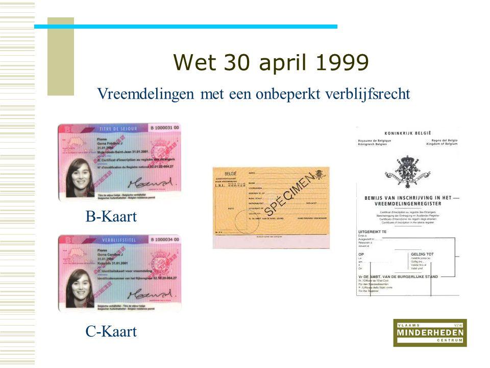 Wet 30 april 1999 B-Kaart C-Kaart Vreemdelingen met een onbeperkt verblijfsrecht