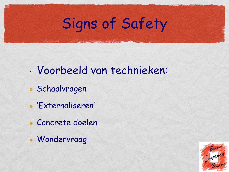 Signs of Safety Voorbeeld van technieken: Schaalvragen 'Externaliseren' Concrete doelen Wondervraag