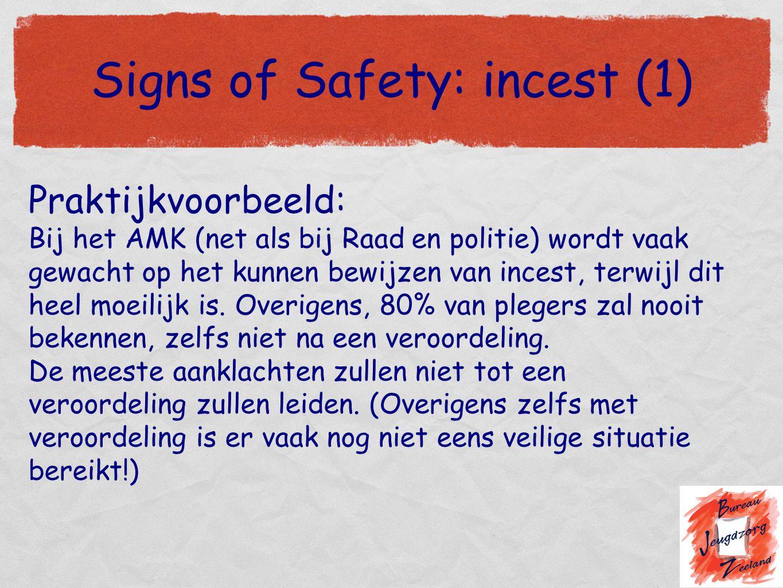 Signs of Safety: incest (1) Praktijkvoorbeeld: Bij het AMK (net als bij Raad en politie) wordt vaak gewacht op het kunnen bewijzen van incest, terwijl