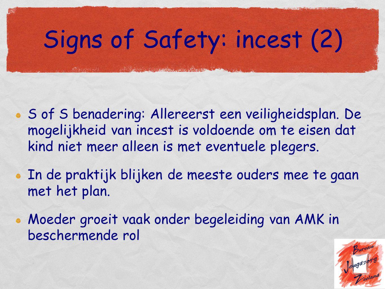 Signs of Safety: incest (2) S of S benadering: Allereerst een veiligheidsplan. De mogelijkheid van incest is voldoende om te eisen dat kind niet meer