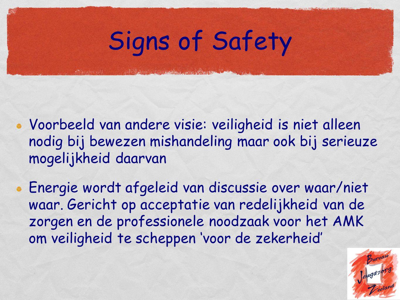 Signs of Safety Voorbeeld van andere visie: veiligheid is niet alleen nodig bij bewezen mishandeling maar ook bij serieuze mogelijkheid daarvan Energi