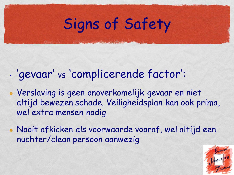Signs of Safety 'gevaar' vs 'complicerende factor': Verslaving is geen onoverkomelijk gevaar en niet altijd bewezen schade. Veiligheidsplan kan ook pr