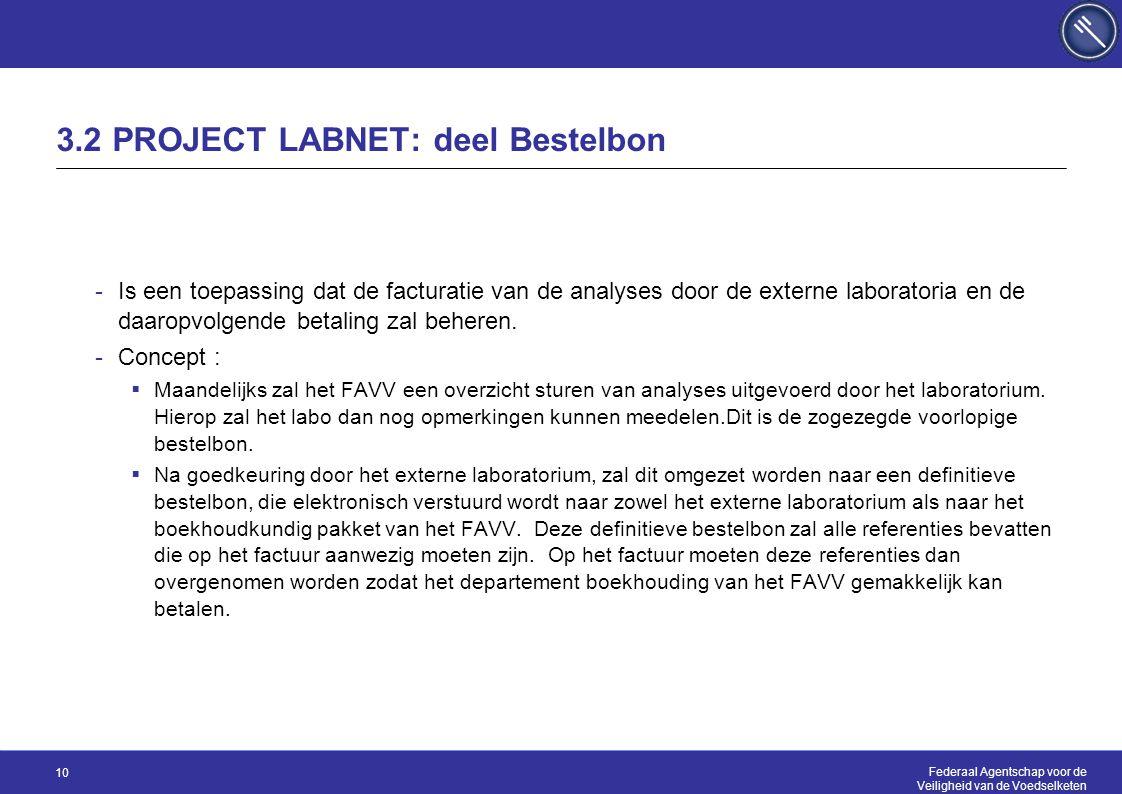 Federaal Agentschap voor de Veiligheid van de Voedselketen 10 3.2 PROJECT LABNET: deel Bestelbon -Is een toepassing dat de facturatie van de analyses door de externe laboratoria en de daaropvolgende betaling zal beheren.