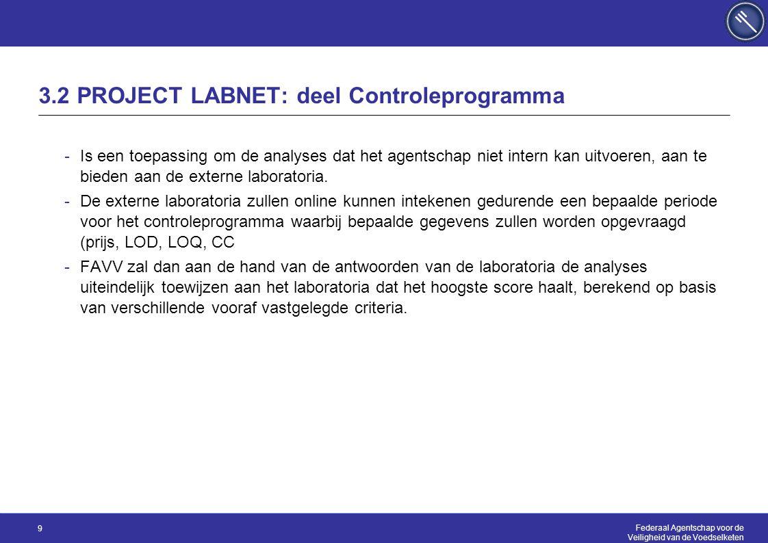 Federaal Agentschap voor de Veiligheid van de Voedselketen 9 3.2 PROJECT LABNET: deel Controleprogramma -Is een toepassing om de analyses dat het agentschap niet intern kan uitvoeren, aan te bieden aan de externe laboratoria.