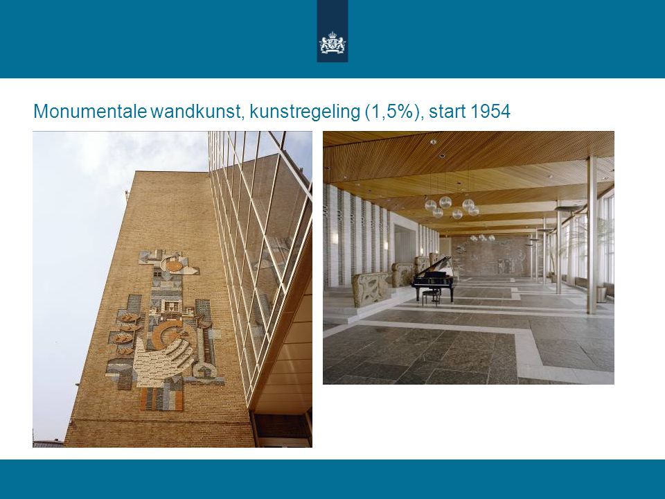 Monumentale wandkunst, kunstregeling (1,5%), start 1954