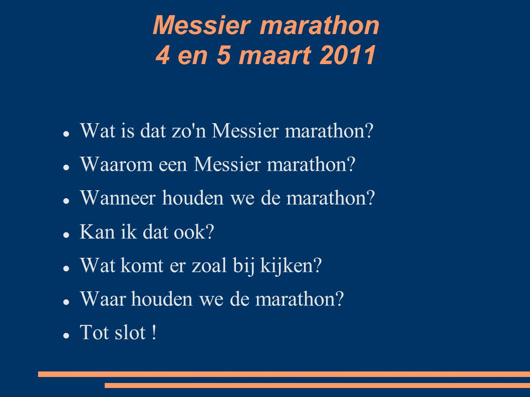 Wat is dat zo n Messier marathon?