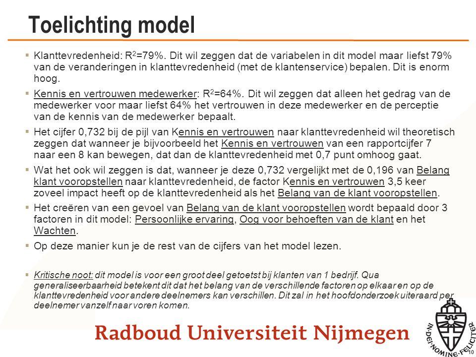 10 Toelichting model  Klanttevredenheid: R 2 =79%. Dit wil zeggen dat de variabelen in dit model maar liefst 79% van de veranderingen in klanttevrede