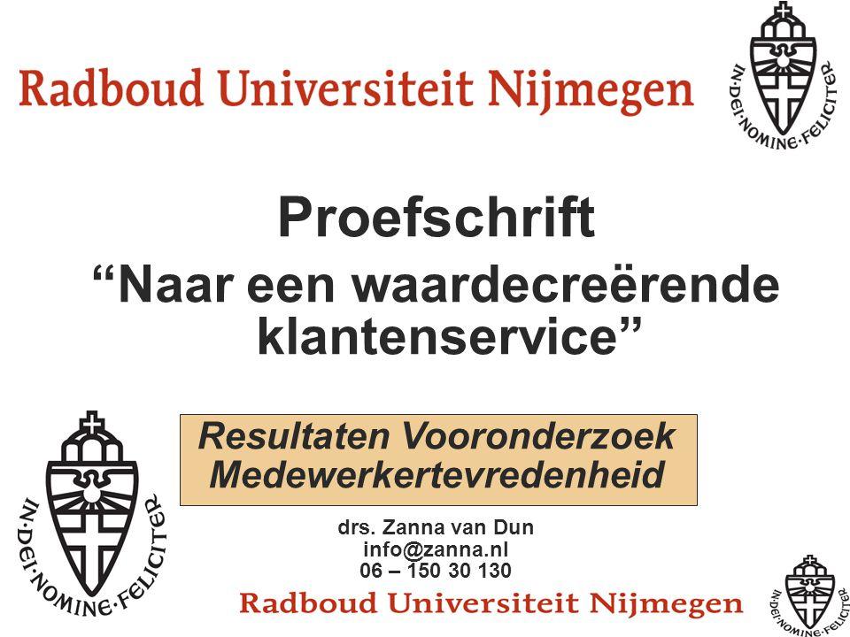 """Proefschrift """"Naar een waardecreërende klantenservice"""" Resultaten Vooronderzoek Medewerkertevredenheid drs. Zanna van Dun info@zanna.nl 06 – 150 30 13"""