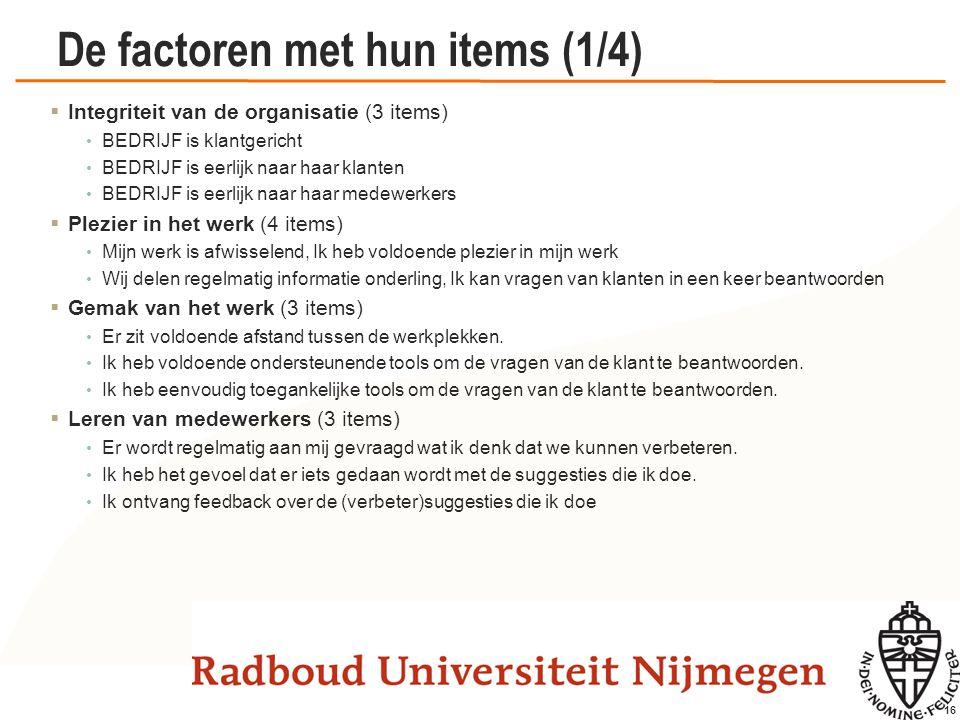 16 De factoren met hun items (1/4)  Integriteit van de organisatie (3 items) BEDRIJF is klantgericht BEDRIJF is eerlijk naar haar klanten BEDRIJF is