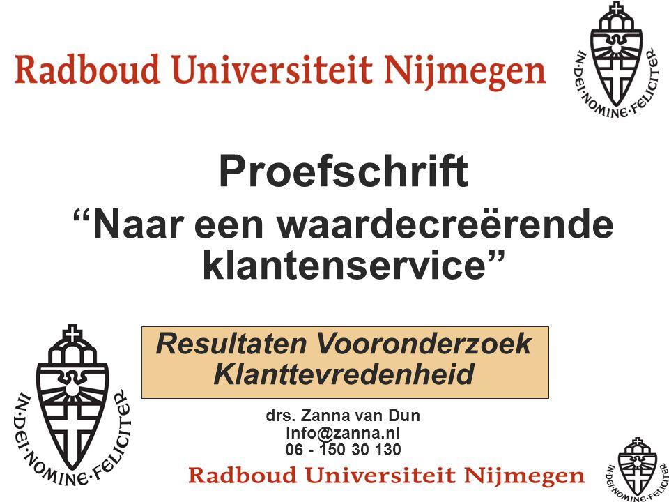 """Proefschrift """"Naar een waardecreërende klantenservice"""" Resultaten Vooronderzoek Klanttevredenheid drs. Zanna van Dun info@zanna.nl 06 - 150 30 130"""