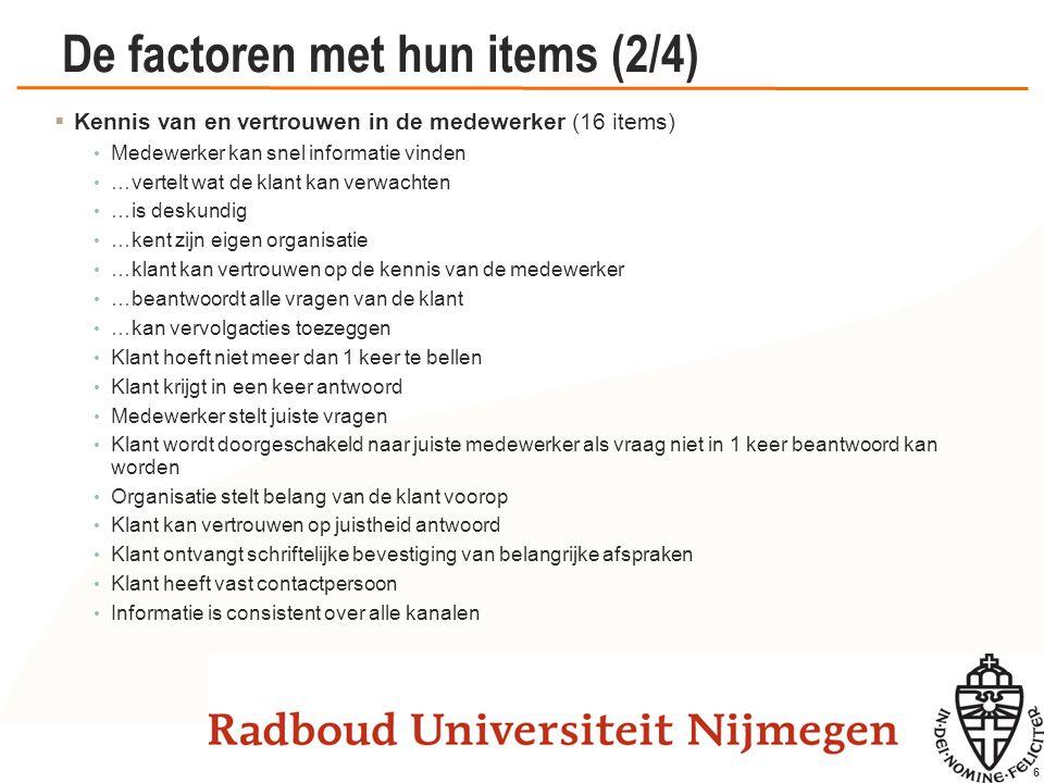 17 De factoren met hun items (2/4)  Conflicterende belangen (7 items) Ik moet taken uitvoeren zonder dat ik daar het gezag voor heb.