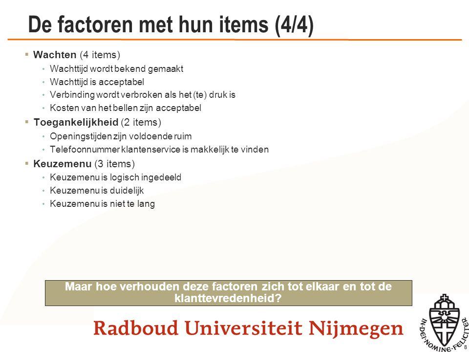 19 De factoren met hun items (4/4)  Leren van klanten (5 items) BEDRIJF heeft een goed productaanbod voor haar klanten.