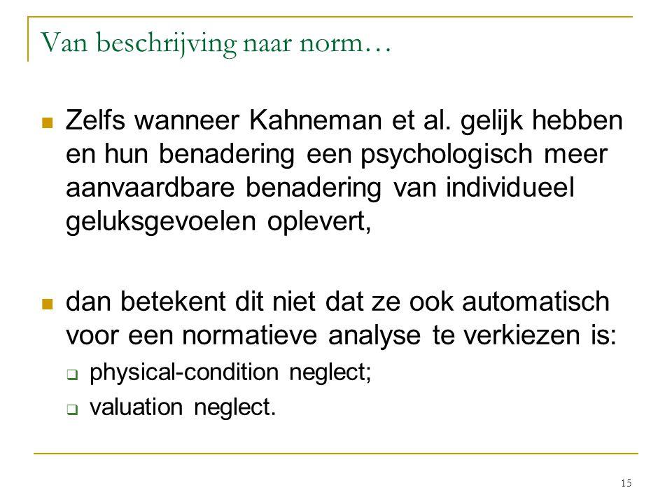 15 Van beschrijving naar norm… Zelfs wanneer Kahneman et al.