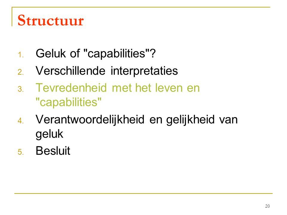 20 Structuur 1. Geluk of capabilities . 2. Verschillende interpretaties 3.