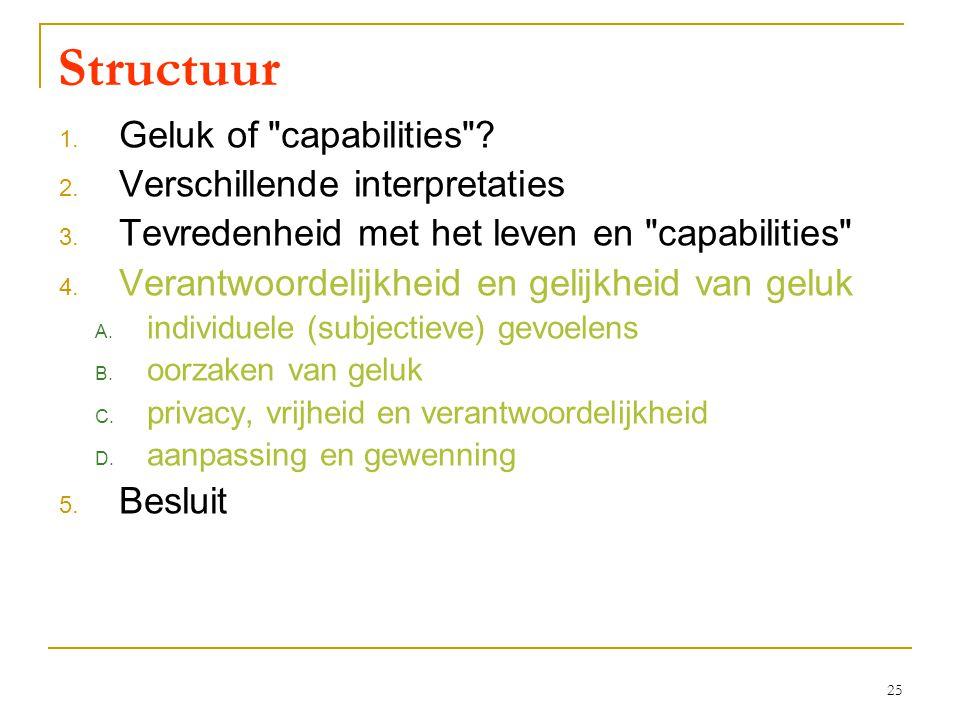 25 Structuur 1. Geluk of capabilities . 2. Verschillende interpretaties 3.