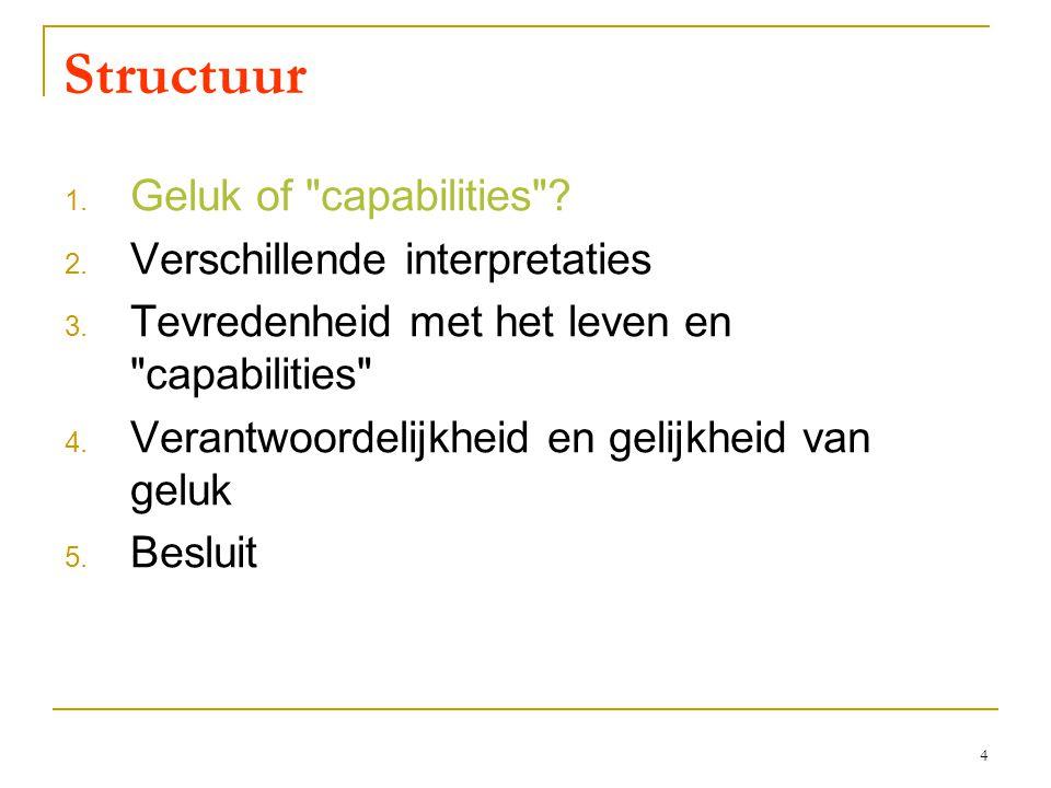 4 Structuur 1. Geluk of capabilities . 2. Verschillende interpretaties 3.