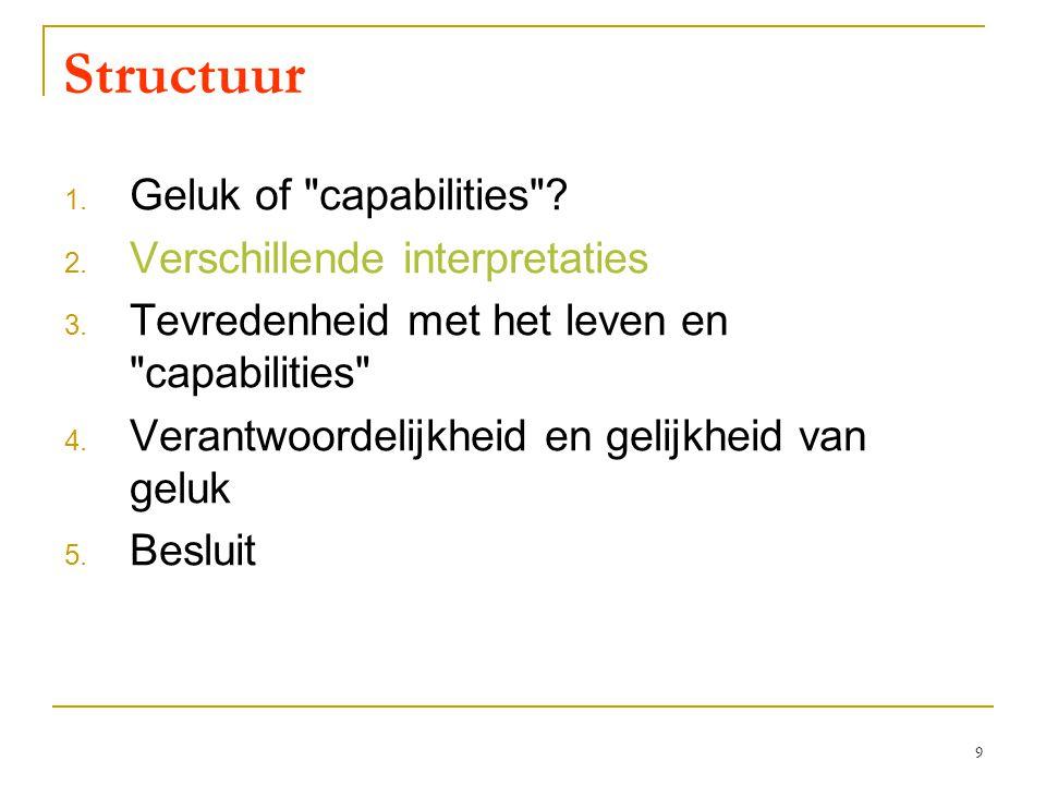 9 Structuur 1. Geluk of capabilities . 2. Verschillende interpretaties 3.
