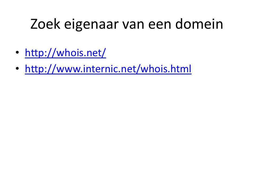 Zoek eigenaar van een domein http://whois.net/ http://www.internic.net/whois.html