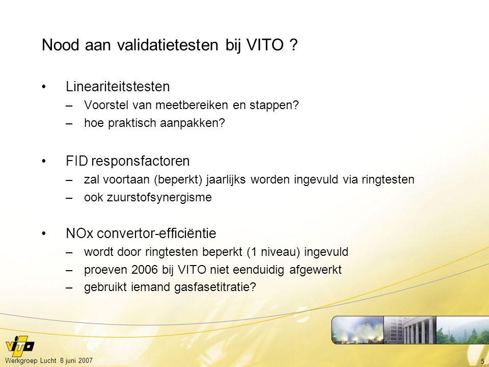 5 Werkgroep Lucht 8 juni 2007 Nood aan validatietesten bij VITO .