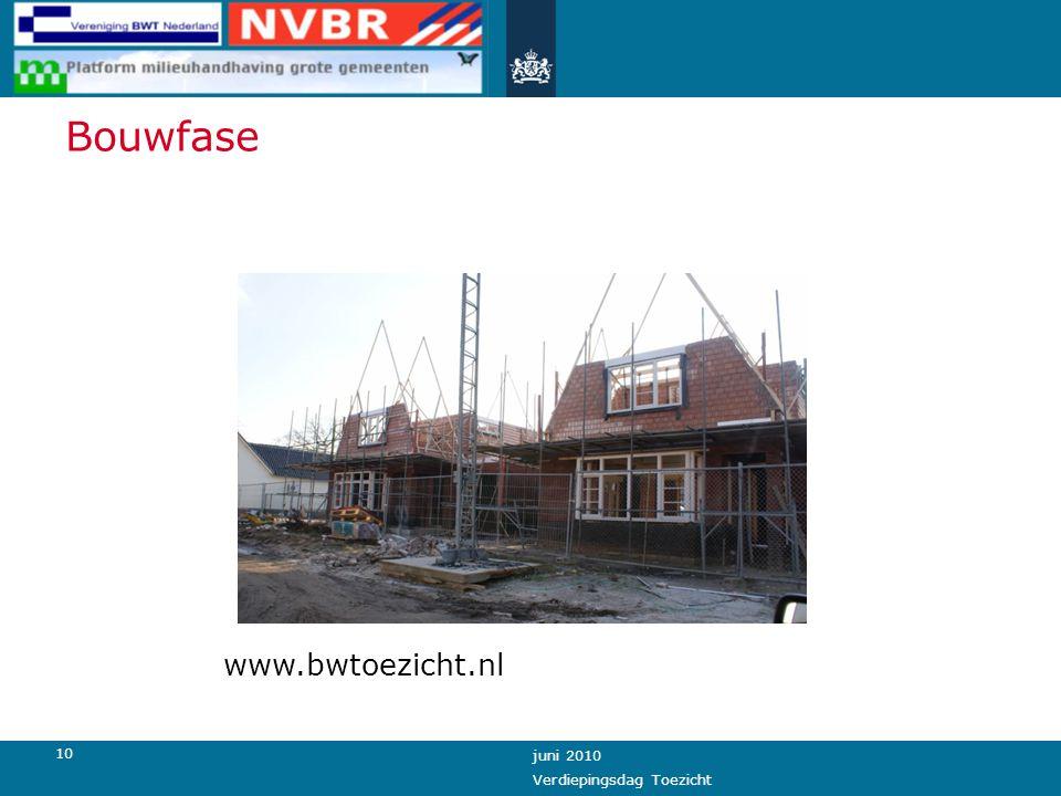 10 juni 2010 Verdiepingsdag Toezicht Bouwfase www.bwtoezicht.nl