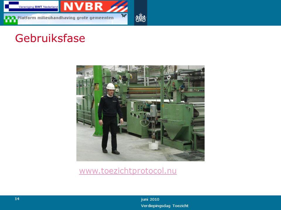 14 juni 2010 Verdiepingsdag Toezicht Gebruiksfase www.toezichtprotocol.nu