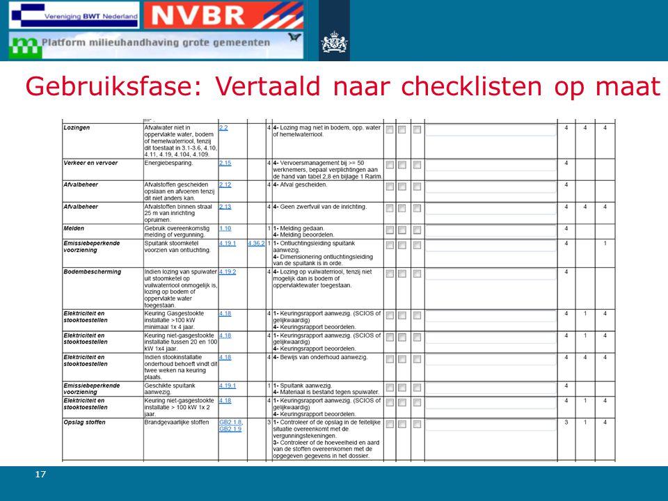 17 Gebruiksfase: Vertaald naar checklisten op maat