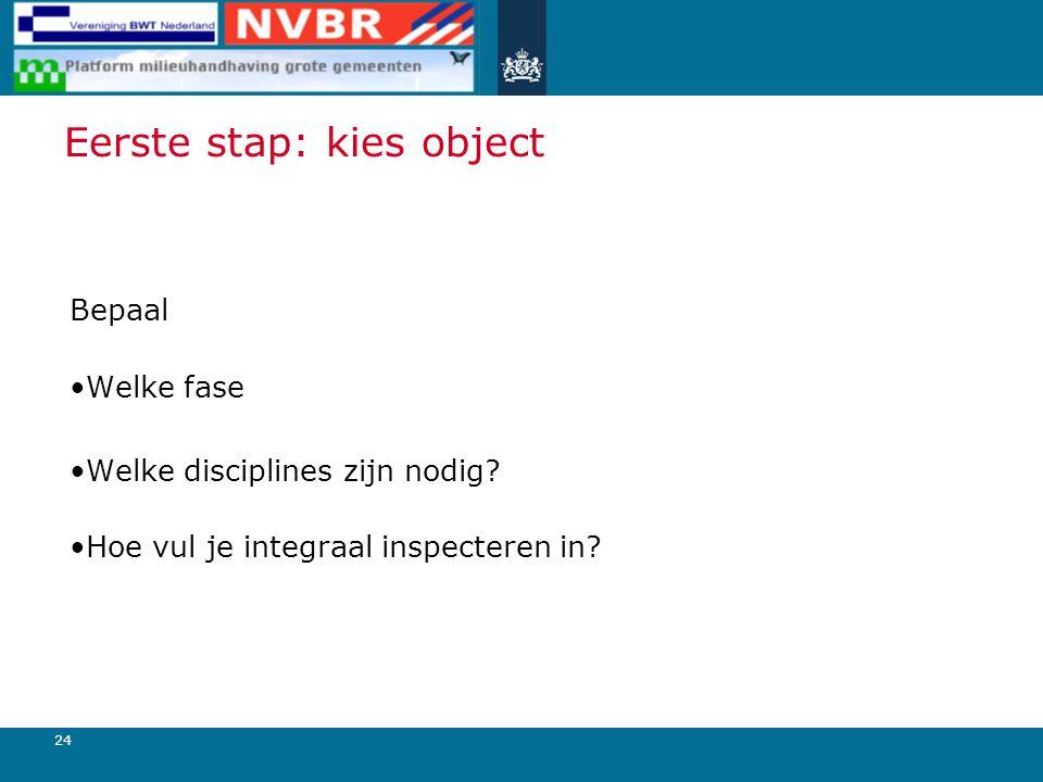 24 Eerste stap: kies object Bepaal Welke fase Welke disciplines zijn nodig.