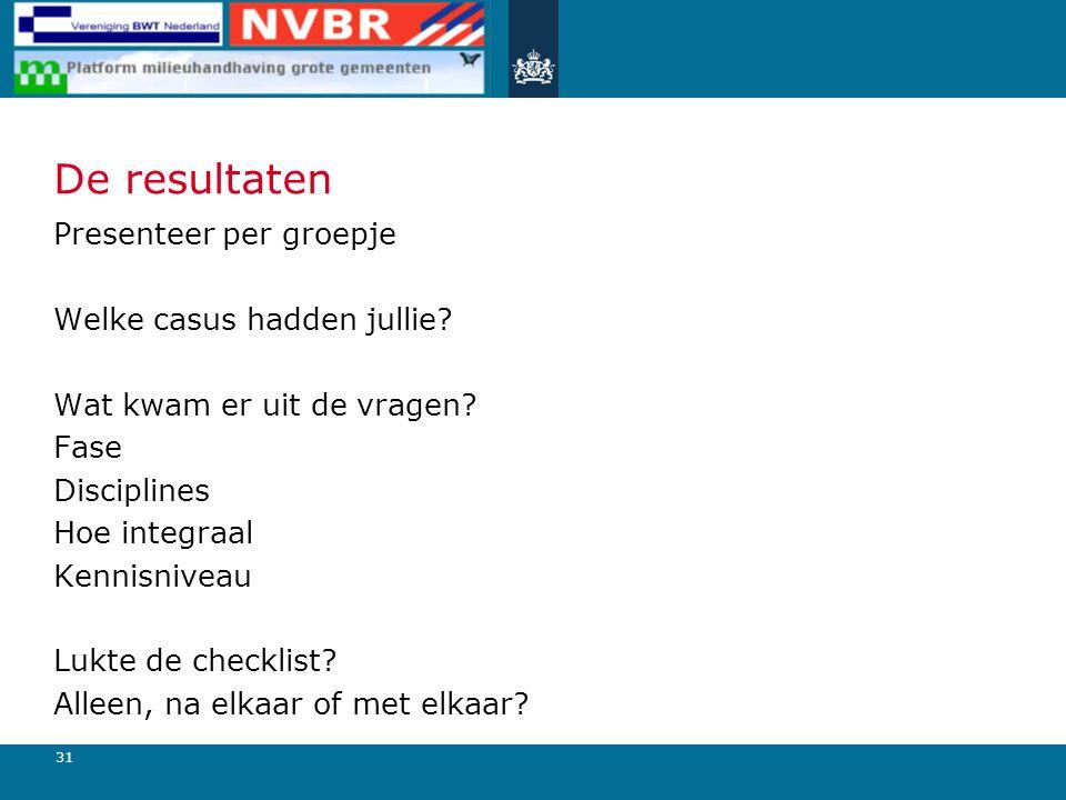 31 De resultaten Presenteer per groepje Welke casus hadden jullie.