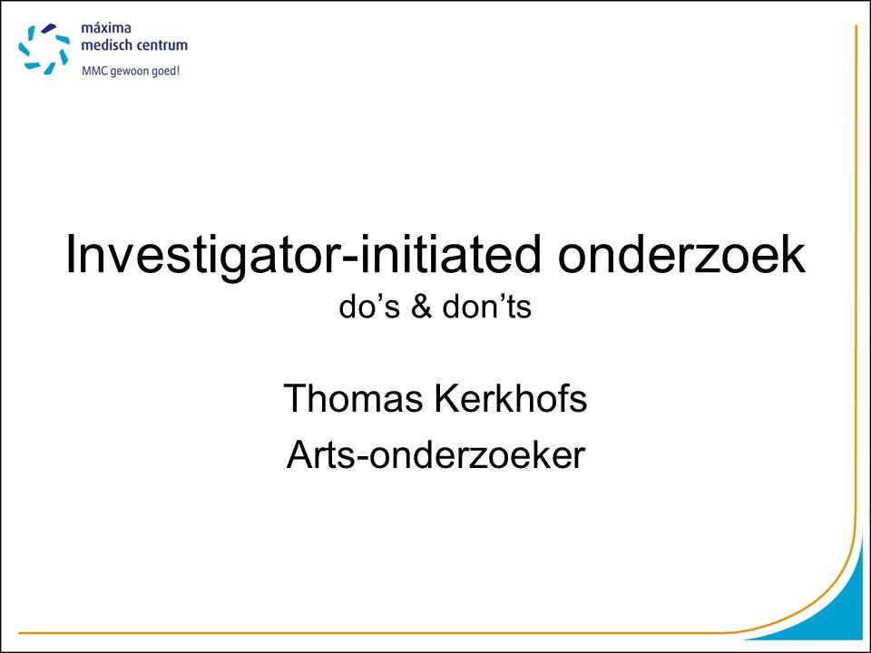 Even voorstellen Promotietraject als arts-onderzoeker sinds 2010 Thema: Bijnierschorscarcinoom Vanuit Máxima Medisch Centrum Samenwerking met universitaire centra en IKZ/IKNL Ervaring met sponsor-initiated onderzoek en 'eigen' investigator-initiated onderzoek