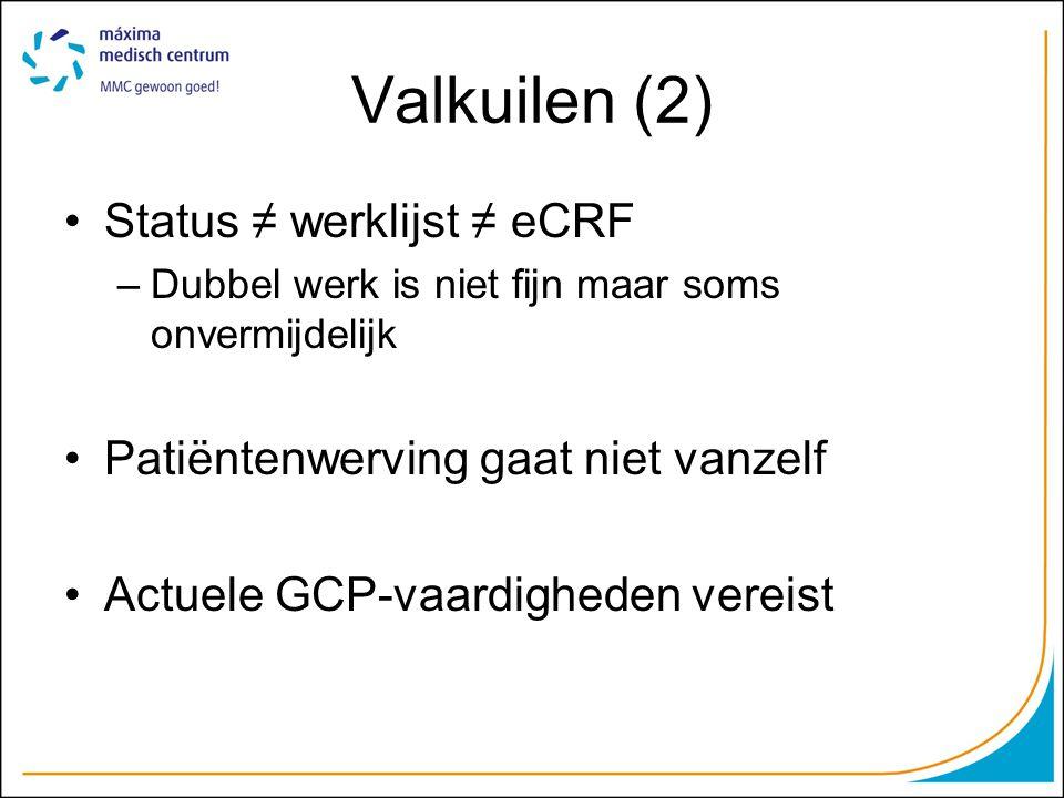 Valkuilen (2) Status ≠ werklijst ≠ eCRF –Dubbel werk is niet fijn maar soms onvermijdelijk Patiëntenwerving gaat niet vanzelf Actuele GCP-vaardigheden