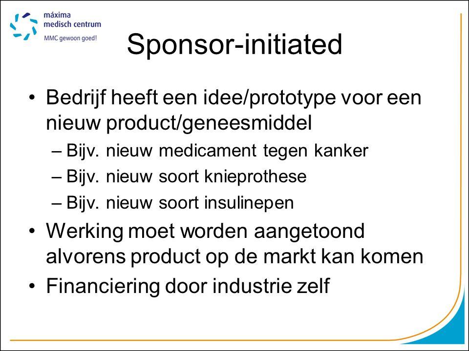 Investigator-initiated Wetenschap uit interesse in bepaalde aandoening Financiering –Subsidie-aanvraag –Instelling –Eigen middelen.