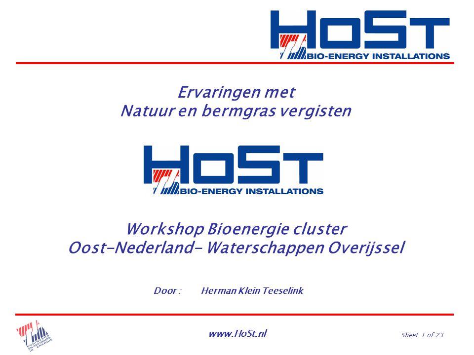 www.HoSt.nl Sheet 1 of 23 Ervaringen met Natuur en bermgras vergisten Door :Herman Klein Teeselink Workshop Bioenergie cluster Oost-Nederland- Watersc