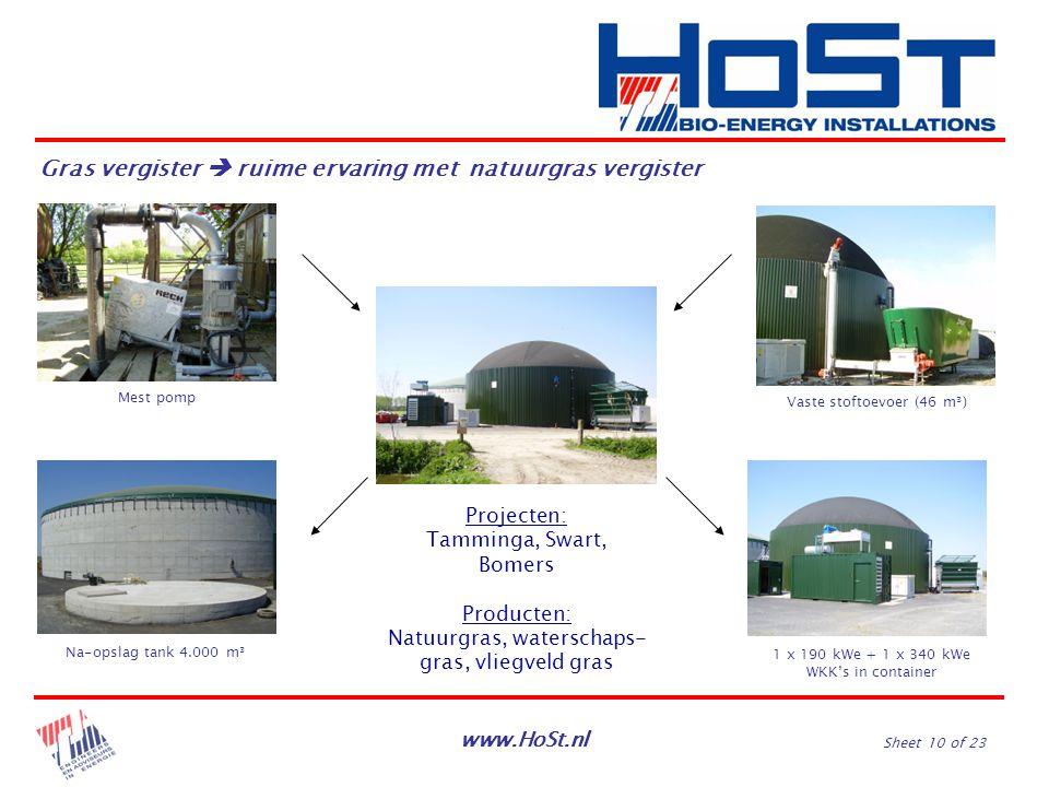 www.HoSt.nl Sheet 10 of 23 Na-opslag tank 4.000 m³ Mest pomp Vaste stoftoevoer (46 m³) 1 x 190 kWe + 1 x 340 kWe WKK's in container Gras vergister  r