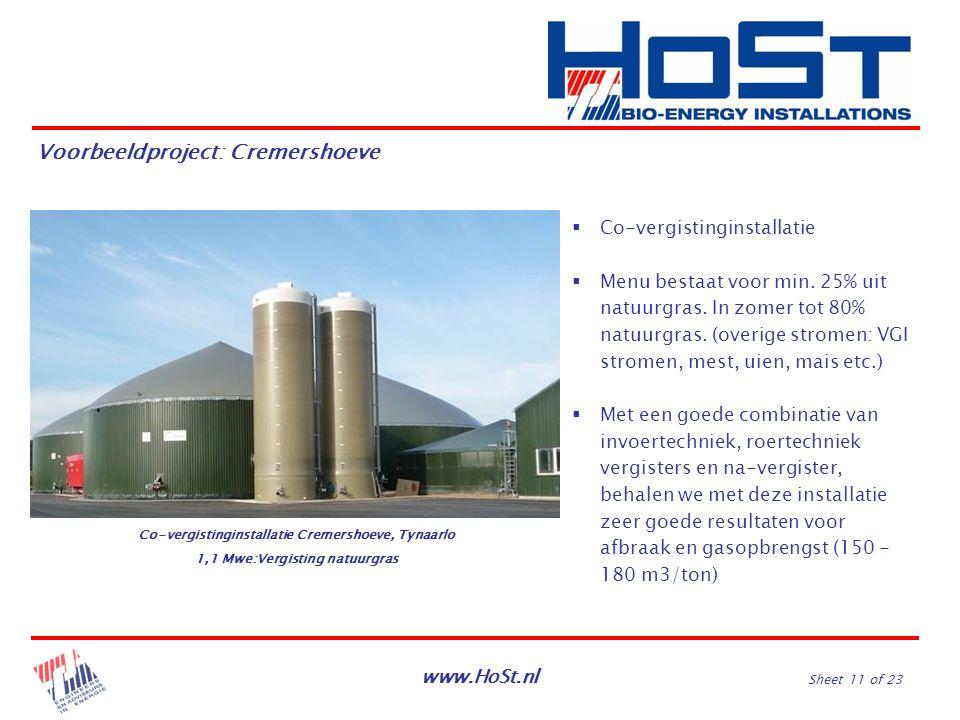 www.HoSt.nl Sheet 11 of 23 Voorbeeldproject: Cremershoeve  Co-vergistinginstallatie  Menu bestaat voor min. 25% uit natuurgras. In zomer tot 80% nat