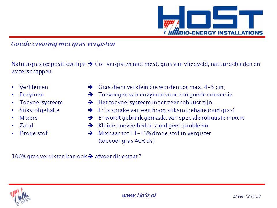 www.HoSt.nl Sheet 12 of 23 Natuurgras op positieve lijst  Co- vergisten met mest, gras van vliegveld, natuurgebieden en waterschappen Verkleinen  Gr