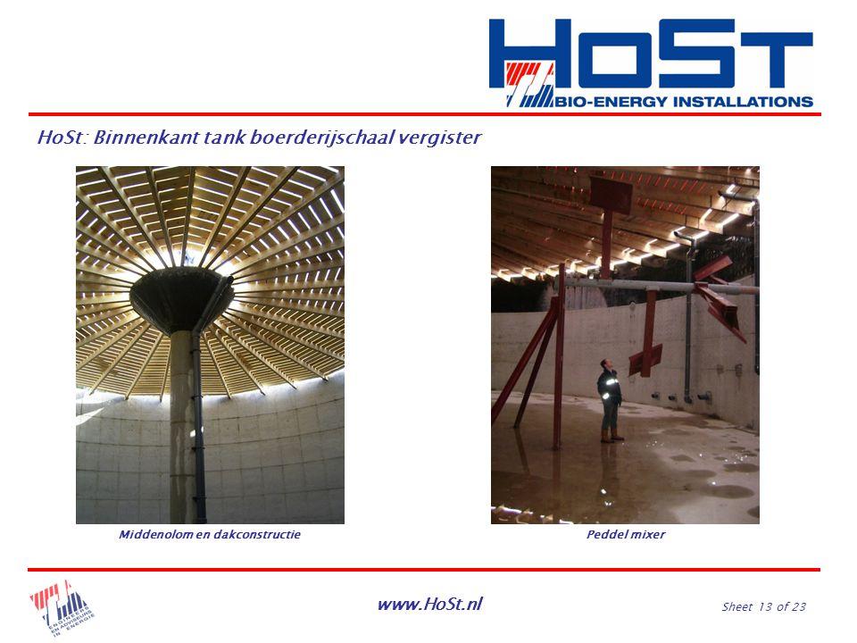 www.HoSt.nl Sheet 13 of 23 HoSt: Binnenkant tank boerderijschaal vergister Middenolom en dakconstructiePeddel mixer
