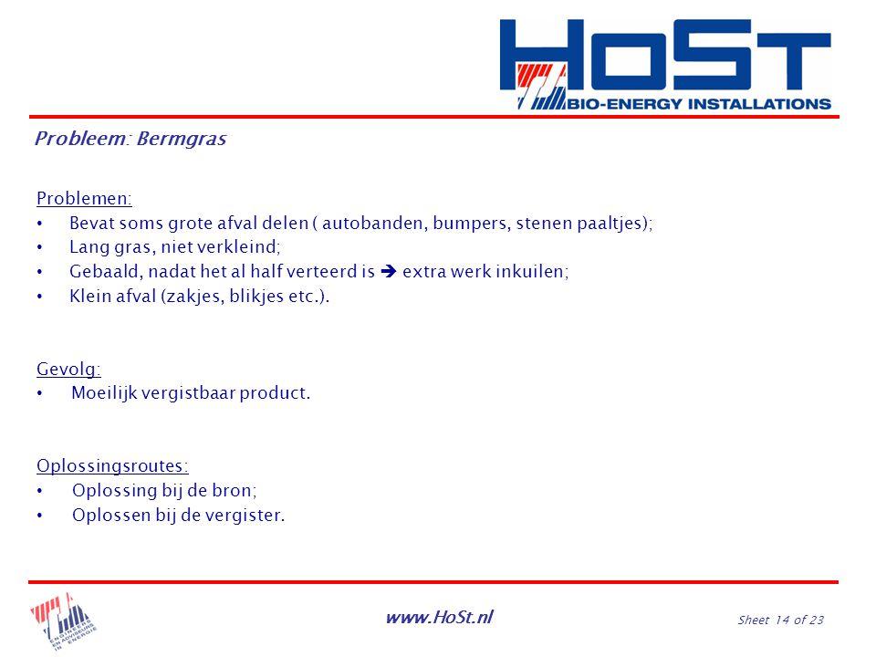 www.HoSt.nl Sheet 14 of 23 Problemen: Bevat soms grote afval delen ( autobanden, bumpers, stenen paaltjes); Lang gras, niet verkleind; Gebaald, nadat