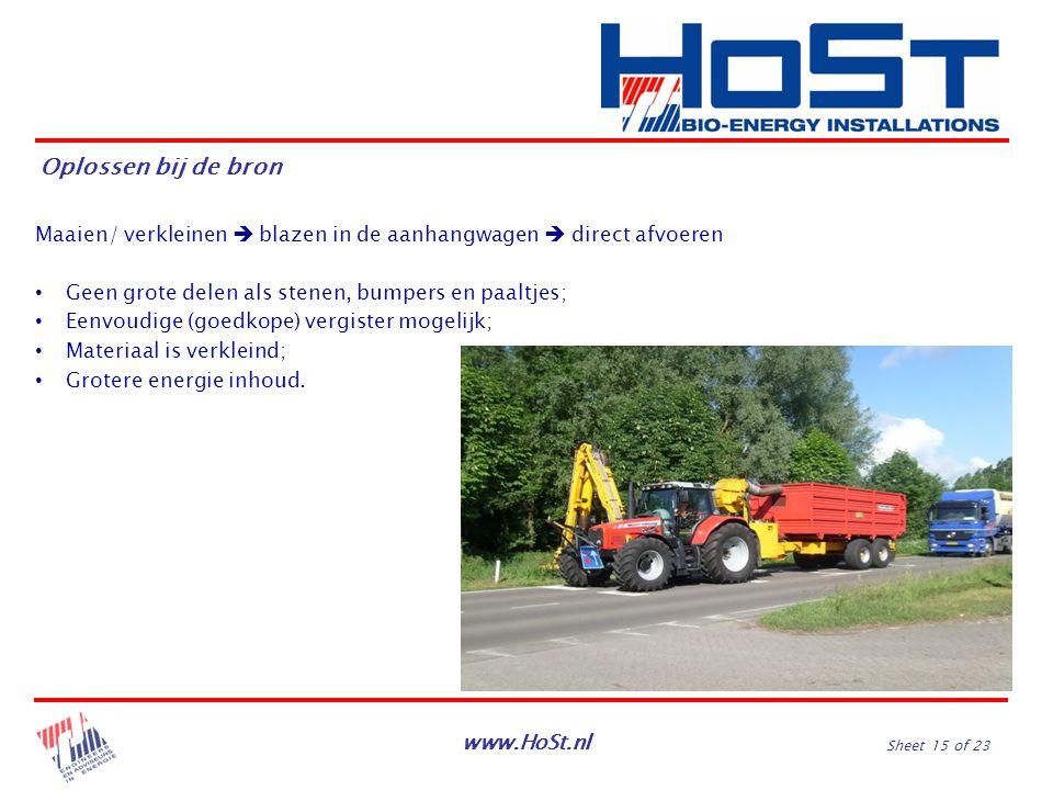 www.HoSt.nl Sheet 15 of 23 Maaien/ verkleinen  blazen in de aanhangwagen  direct afvoeren Geen grote delen als stenen, bumpers en paaltjes; Eenvoudi