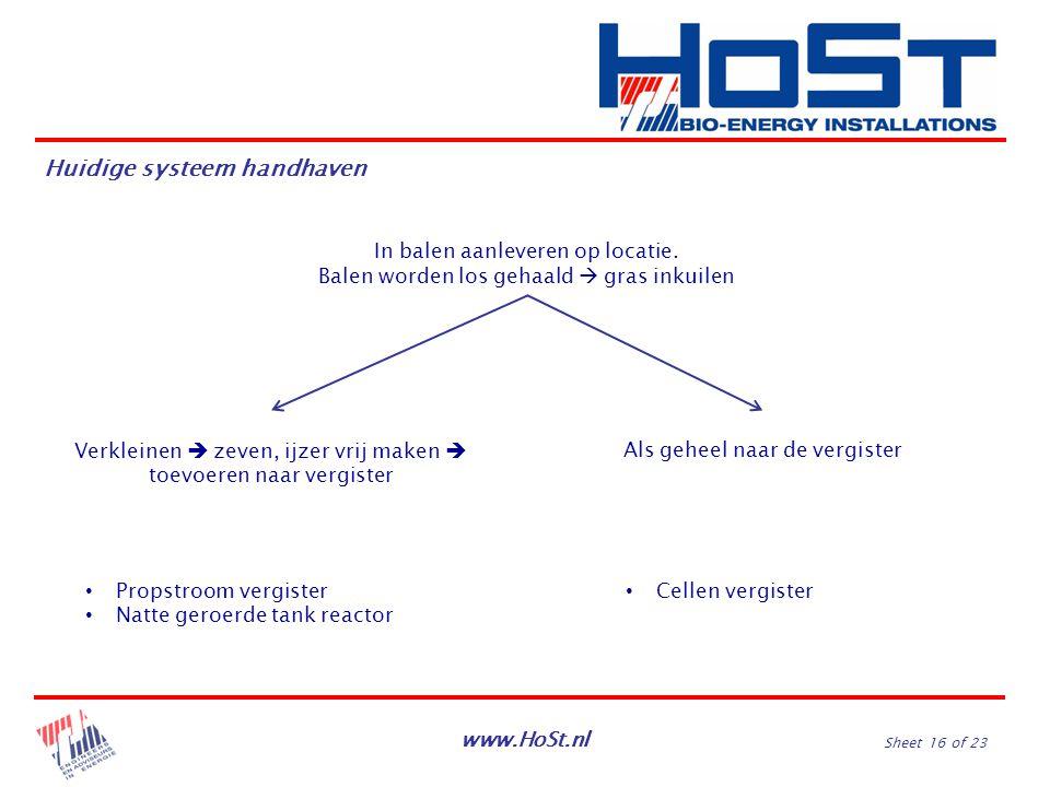 www.HoSt.nl Sheet 16 of 23 In balen aanleveren op locatie. Balen worden los gehaald  gras inkuilen Verkleinen  zeven, ijzer vrij maken  toevoeren n