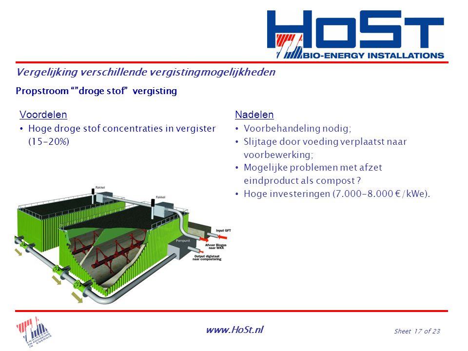 """www.HoSt.nl Sheet 17 of 23 Vergelijking verschillende vergistingmogelijkheden NadelenVoordelen Propstroom """"""""droge stof"""" vergisting ∙ Hoge droge stof c"""
