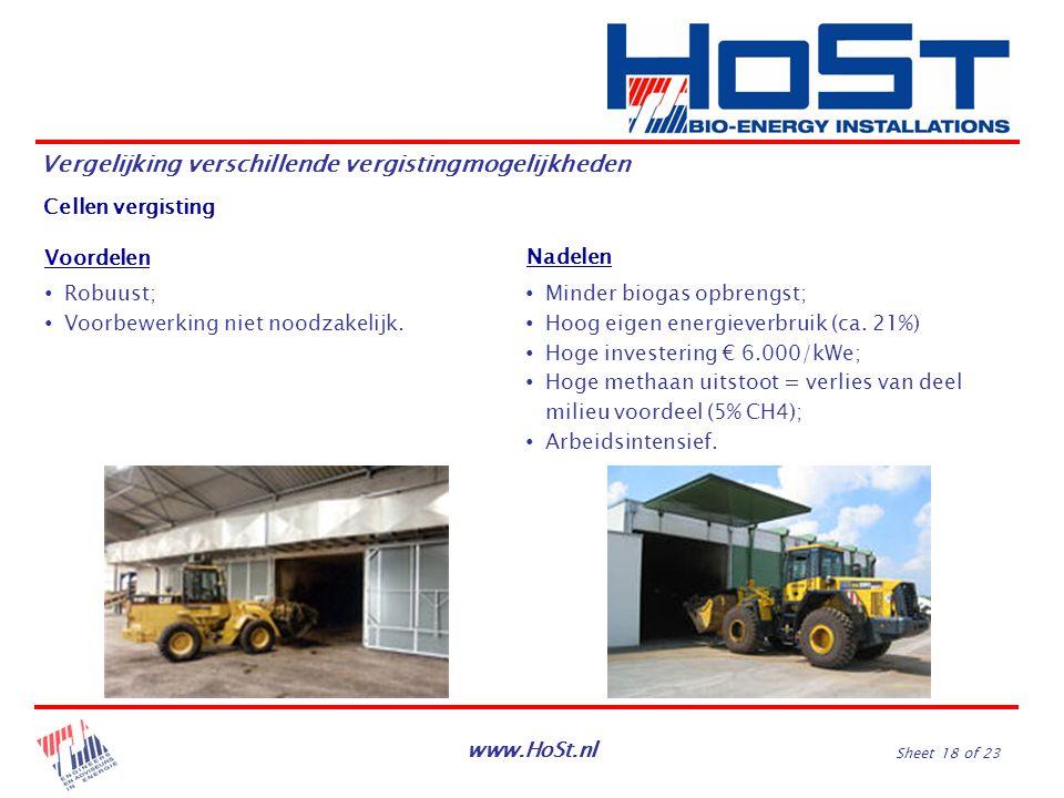www.HoSt.nl Sheet 18 of 23 Vergelijking verschillende vergistingmogelijkheden Cellen vergisting Nadelen Voordelen ∙ Minder biogas opbrengst; ∙ Hoog ei