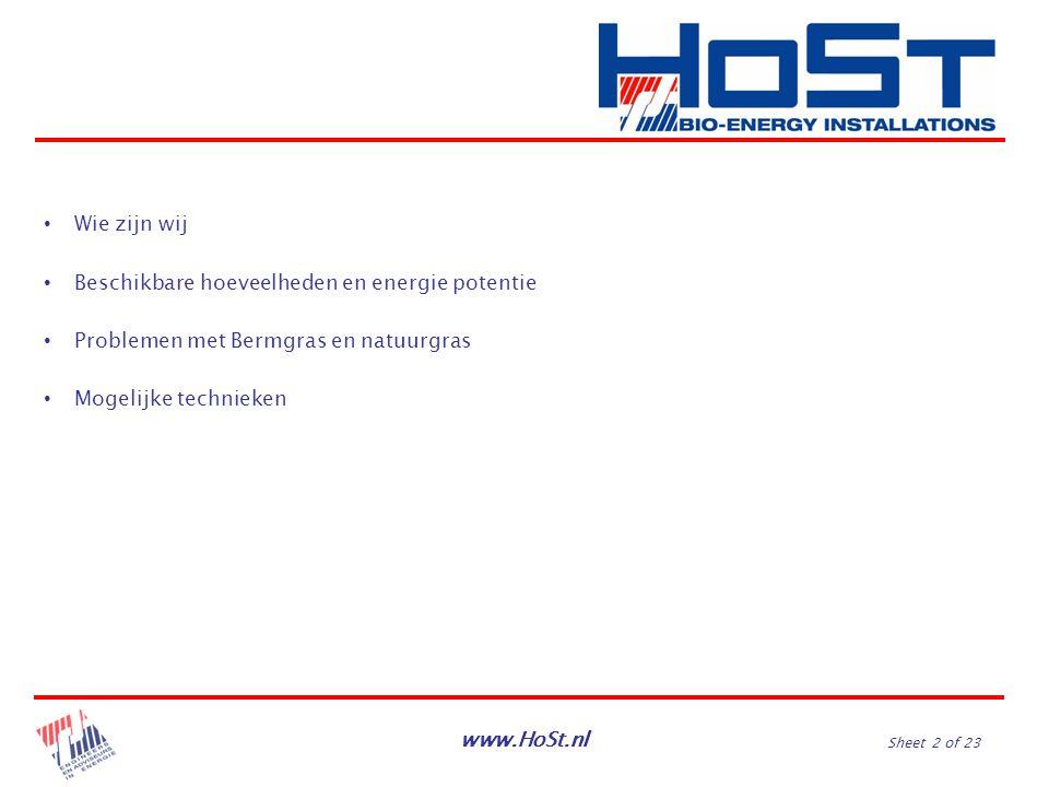 www.HoSt.nl Sheet 2 of 23 Wie zijn wij Beschikbare hoeveelheden en energie potentie Problemen met Bermgras en natuurgras Mogelijke technieken