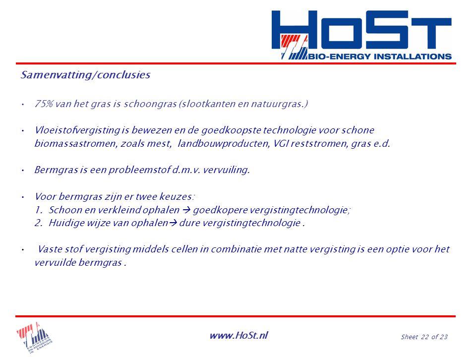 www.HoSt.nl Sheet 22 of 23 75% van het gras is schoongras (slootkanten en natuurgras.) Vloeistofvergisting is bewezen en de goedkoopste technologie vo