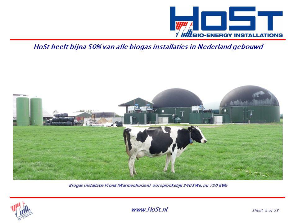 www.HoSt.nl Sheet 3 of 23 Biogas installatie Pronk (Warmenhuizen) oorspronkelijk 340 kWe, nu 720 kWe HoSt heeft bijna 50% van alle biogas installaties