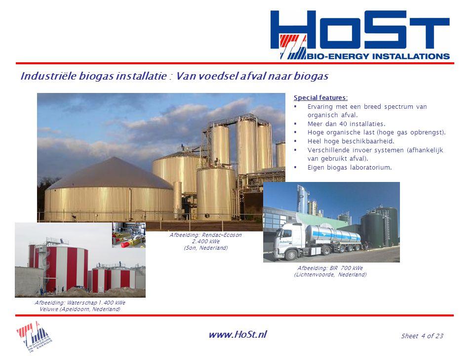 www.HoSt.nl Sheet 4 of 23 Industriële biogas installatie : Van voedsel afval naar biogas Special features:  Ervaring met een breed spectrum van organ