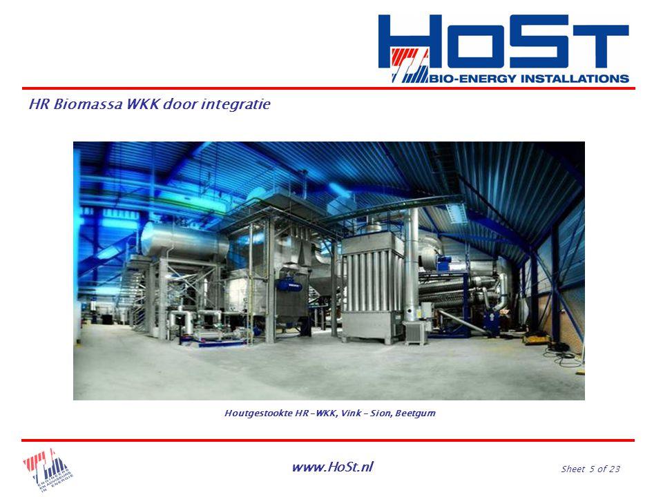 www.HoSt.nl Sheet 5 of 23 HR Biomassa WKK door integratie Houtgestookte HR –WKK, Vink – Sion, Beetgum