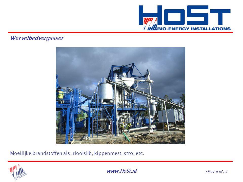 www.HoSt.nl Sheet 6 of 23 Moeilijke brandstoffen als: rioolslib, kippenmest, stro, etc. Wervelbedvergasser