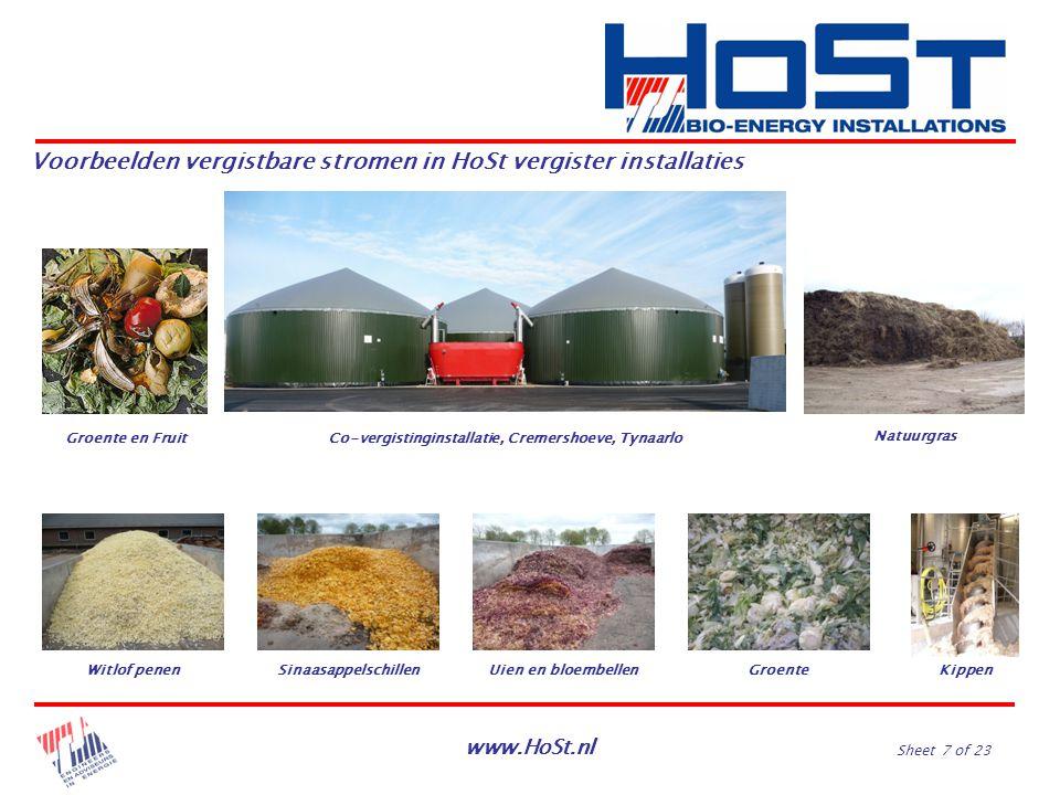 www.HoSt.nl Sheet 7 of 23 Voorbeelden vergistbare stromen in HoSt vergister installaties Co-vergistinginstallatie, Cremershoeve, TynaarloGroente en Fr